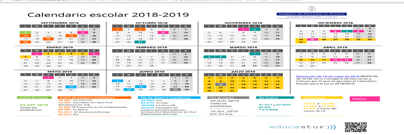 Calendario Escolar Asturias.Calendario Escolar 2018 2019 Noticias Alojaweb